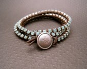 Chocolate Brown Leather and Pacific Opal Swarovski Crystal Wrap Bracelet (Silver)
