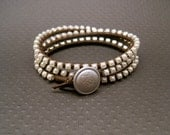 Chocolate Brown Leather and Pearl Swarovski Crystal Wrap Bracelet (Silver)
