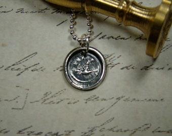 Peace Dove Wax Seal Pendant ..... Silver Seal Jewelry