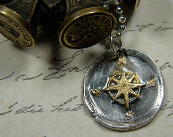 The Golden Compass .... Wax Seal Pendant and Chain