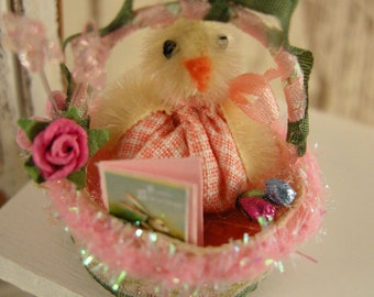 Dollhouse Easter basket with chicken