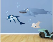 Whale & Dolphin Fabric Wall Decal Set