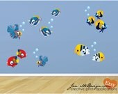 Fish Wall Decals,Tropical Fish Fabric Wall Decal Set, Ocean Wall Art, Wall Stickers