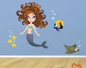 Ocean Fish and Mermaid Fabric Wall Decal