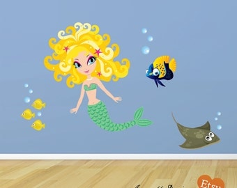Mermaid and Fish Fabric Wall Decals, Ocean Theme Room