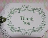 Thank You Tags (Set of 6) White Cardstock/Green Ink