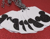 10 Large Mickey Mouse (White with Black Glitter) Gift Tags No. 202