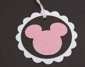 Mickey/Minnie Gift/Party Tags (Set of 10) White/Black/Pink Glitter Wishing Tags/Scrapbooking