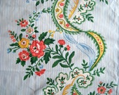 Pretty vintage cotton fabric remnant - french ticking style.