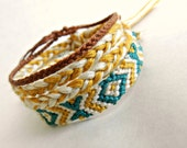 The Golden Palace Bracelet Set of Three in Turquoise, Cream, and Gold - Friendship Wish Bracelets Fiber Jewelry Boho Hippie Spring Summer