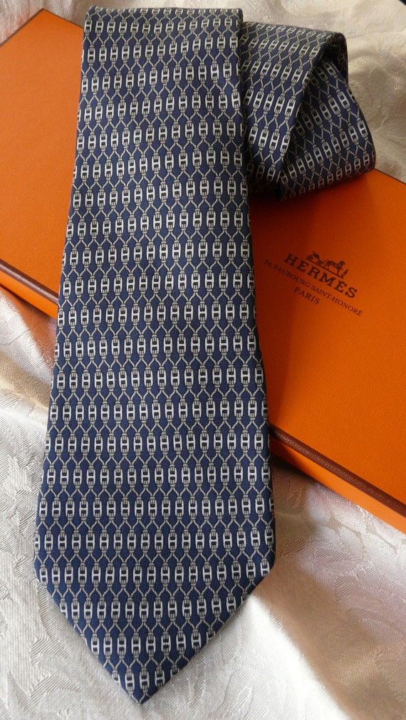 Authentic Vintage HERMES Silk Necktie - gray on blue 7199UA
