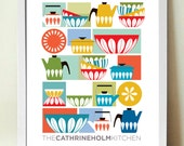 Kitchen Print, Cathrineholm, Mid century Modern, Kitchen Decor, Retro Kitchen Poster, Cooks Gift, Enamelware, Scandinavian, midcentury