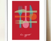 Kitchen Wall Art, Mid Century Modern Poster Print, Bon Appetit, RED, Inspirational Quote, Gift for Cooks, Knife, Fork and Spoon, Cooking Art