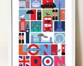 London UK Travel Poster, City Print, mid century modern retro style print, Urban art, Cityscape, Vacation print, Travel wall art
