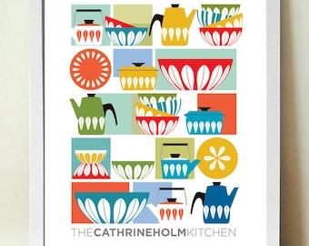 Kitchen Wall Art, Cathrineholm, Mid century Modern, Kitchen Decor, Retro Kitchen Poster, Gift for Cooks, Enamelware, Scandinavian design