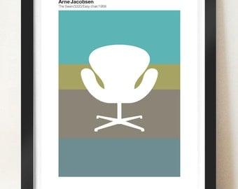 Retro poster - Arne Jacobsen Swan Chair, Danish Modern, Mid Century Modern, A3 giclée print