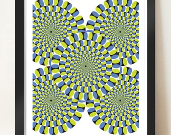 Magic moving wheels, optical illusion poster, Illusion wall art, Contemporary home decor, graphic design, Abstract print, Geometric art