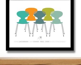 Arne Jacobsen Ant chairs, furniture print, Danish Modern, home decor, midcentury chair, retro poster