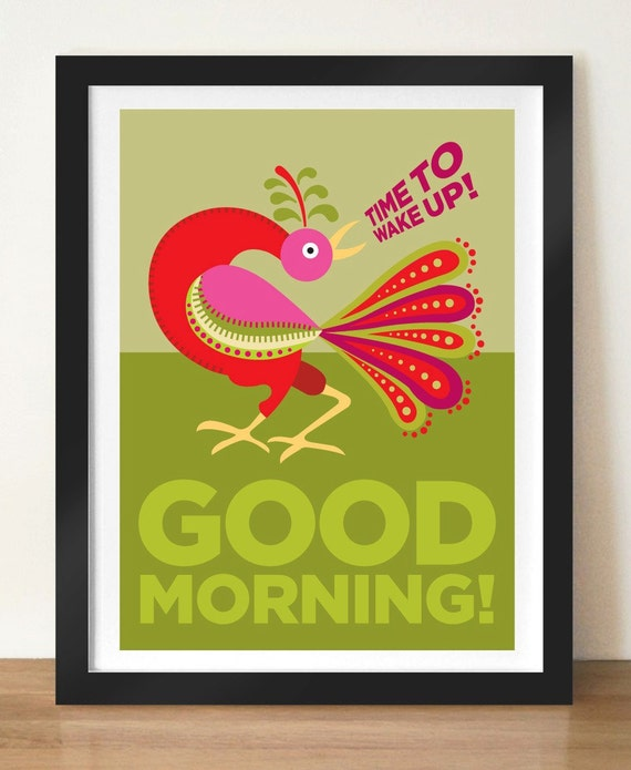 Kitchen Poster, mid century modern print, retro poster, GOOD MORNING Russian cockerel, home decor, kitchen wall art, inspirational quote