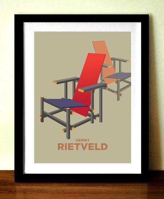 Retro poster, mid century modern, GERRIT RIETVELD, chair print, scandinavian design inspired, home decor, bedroom wall art, modern print