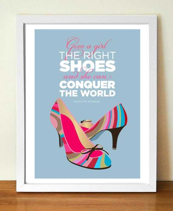 Quote Poster, Marilyn Monroe, Quote Print, Motivational art, Shoes, Mid century modern, (A3) giclée print