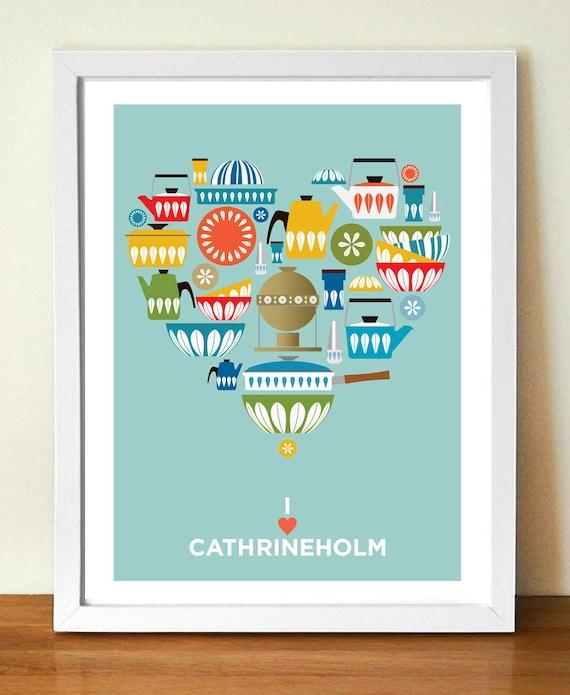 Kitchen Wall Art, Cathrineholm, Mid century Modern, HEART PRINT, Kitchen Decor, Retro Kitchen Poster, Gift for Cooks, Scandinavian design