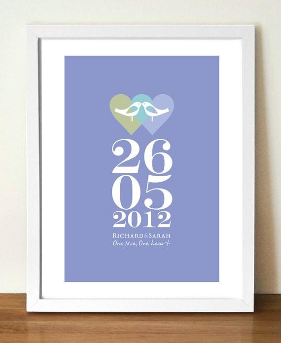 Wedding Gift, Personalised wedding date print, Lovebirds, Custom Wedding Anniversary poster, Newlyweds, Love print, Couples gift