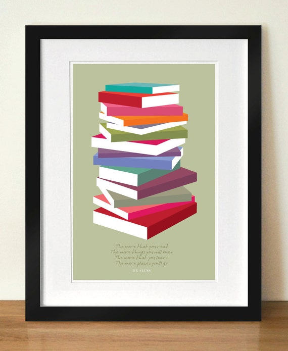 Retro Posters, Mid Century Modern, Dr Seuss Quote, Poster Print Colourful books pile, A3 giclée print