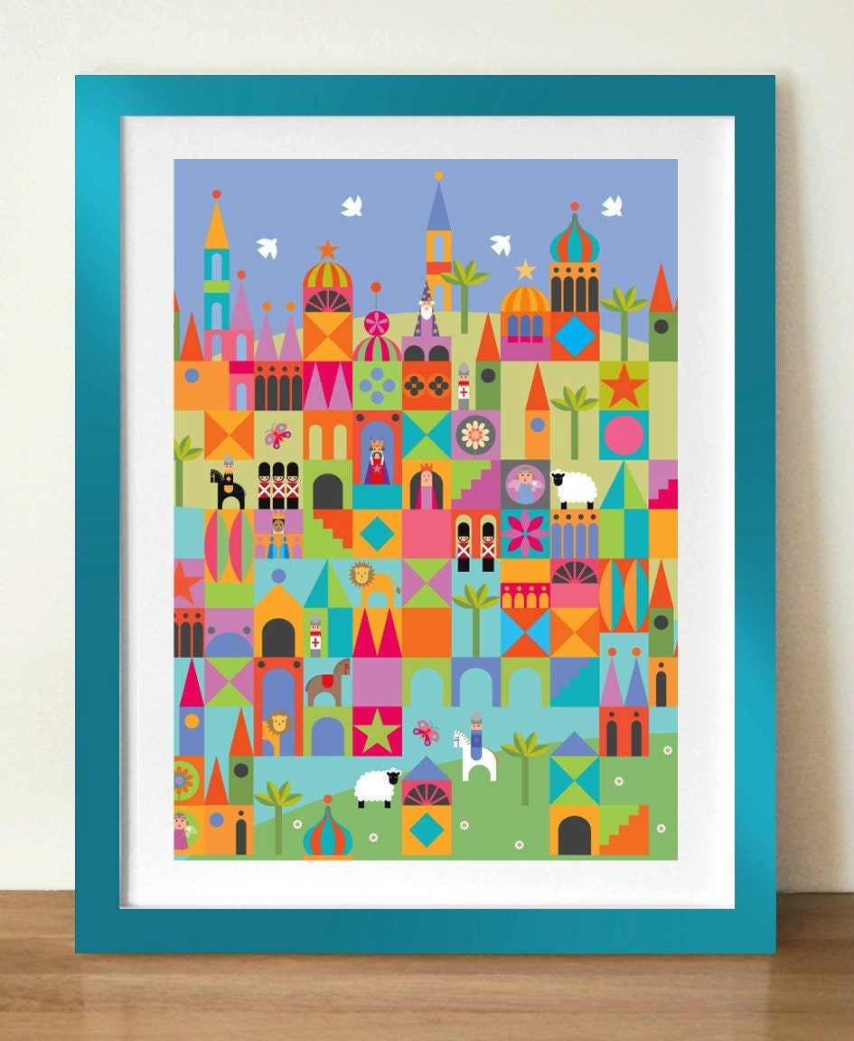 Toytown Mid Century Modern Style Kids Poster By