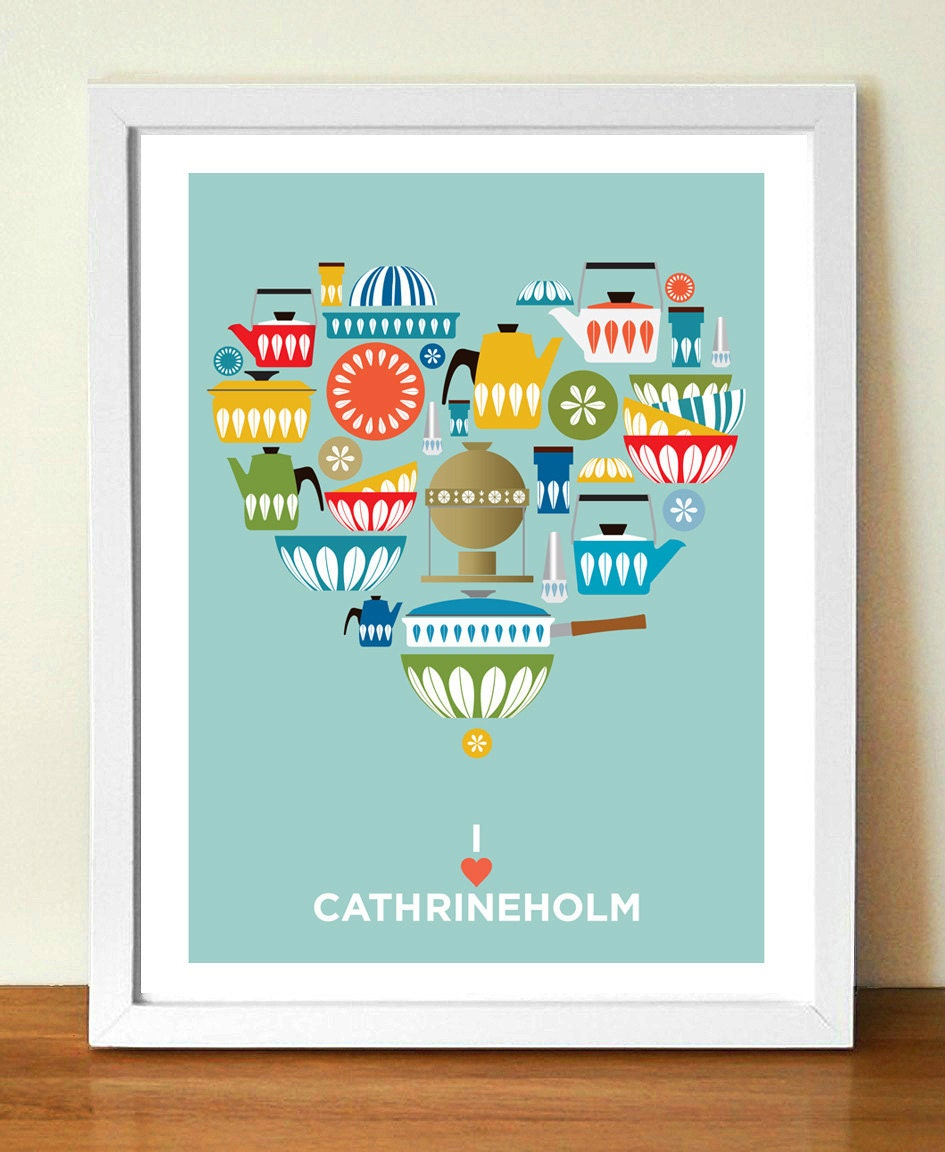 Kitchen wall art cathrineholm mid century by visualphilosophy for Art prints for kitchen wall