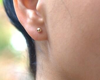 Gold earrings - gold stud earrings, gold filled earrings, 4mm post earrings, ball earrings,stud earrings,gold  earrings