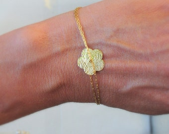 Gold Bracelet - Gold Flower Bracelet - Minimum Jewelry, simple gold charm bracelet, dainty gold bracelet, everyday jewelry