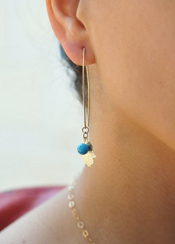 Hamsa earrings, 14k gold filled earrings. V earrings, Hamsa blue turquoise earrings