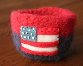 patriotic red white blue wool felted vessel with american flag 4th of july