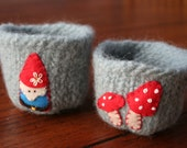 blue wool felted vessel set of 2 gnome and mushrooms