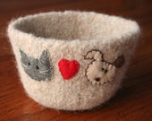 natural wool felted bowl - cat/dog love - customizable