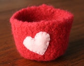 valentine mothers day red wool felted vessel with pink heart love