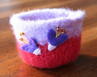 heart winged butterflies lavender and red wool felted vessel