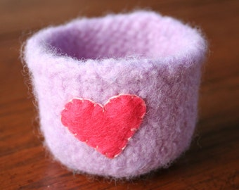 purple wool felted valentines day vessel with pink heart