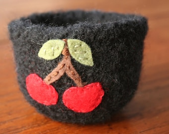 wool felted black vessel with cherries