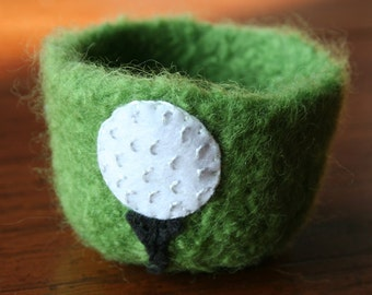 fathers day - grass green golf ball wool felted vessel - spring sport tee groomsmen