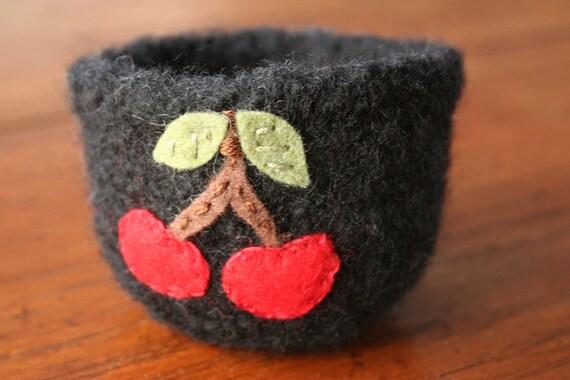 wool felted black vessel with cherries