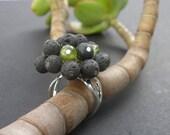 Black Lava - Peridot Ring