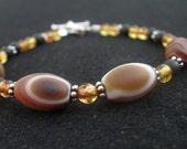 Tibetan Agate Eye Bead - Baltic Amber - 925 Sterling Silver Bracelet