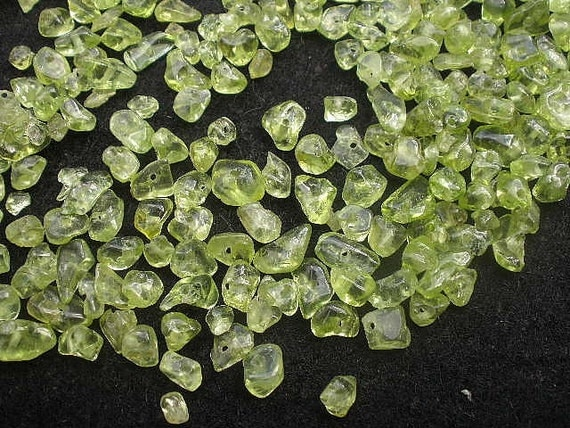 Natural Gemstone Peridot Drilled Tumble Polished Chips - Small Size 60 Grams