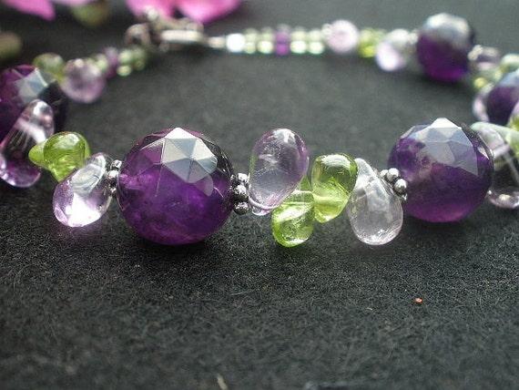 Natural Gemstone Amethyst - Natural Gemstone Peridot  - 925 Sterling Silver Bracelet