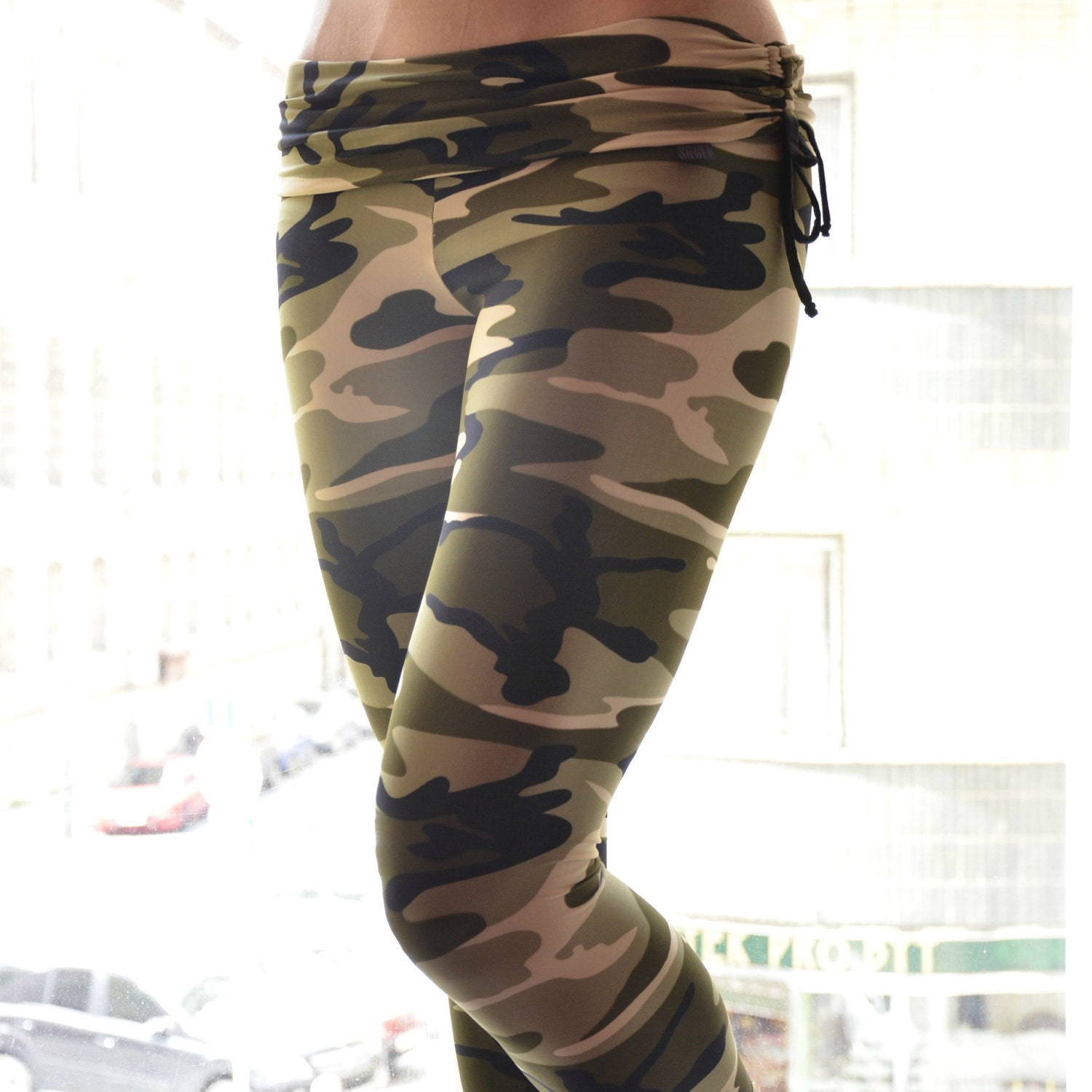 Last One SmallLeggings In Army Style For Bikram Yoga