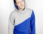 """hoody / sweater / jumper """"männertreu"""", blue - grey"""