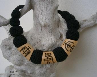 Crochet Pyrography Wood Burning Necklace