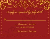 Printable Wedding Invitation RSVP - 3.5x5 - Bollywood Ornate - Formal, Filigree, Antique, Elegant - Red, Gold, Plum, Silver, Navy, Yellow